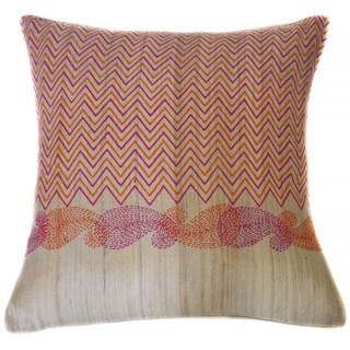 Jiti Paisley Purple Orange Square Linen Accent Pillow