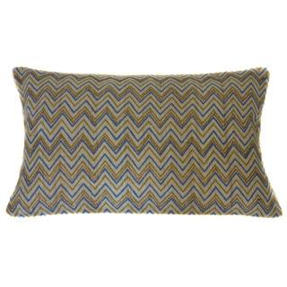 Jiti Zigs Blue Green Linen Accent Pillow