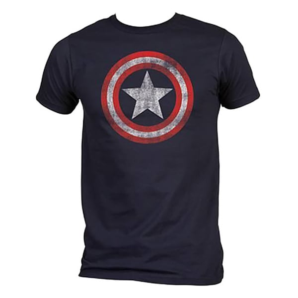 Distressed Navy Captain America Shield Logo T-shirt
