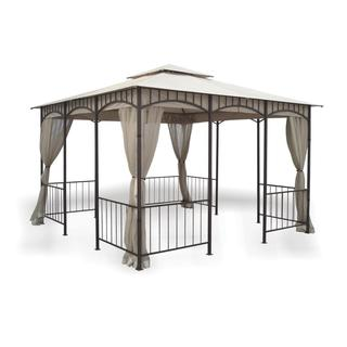 11.5' x 11.5' Savannah Gazebo with Insect Screen and 2-Tier Beige Top with Grommets