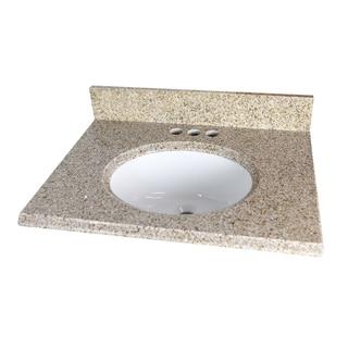 Granite Beige Oval Bowl and Backsplash Vanity Top