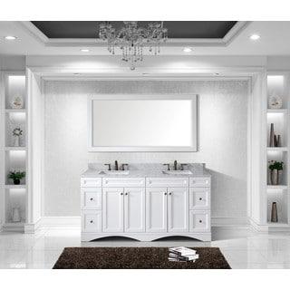 Virtu Talisa 72-inch Double Sink White Carrara Marble Countertop Vanity