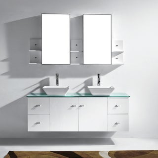 Virtu Clarissa 61-inch White Double Bathroom Vanity Cabinet Set