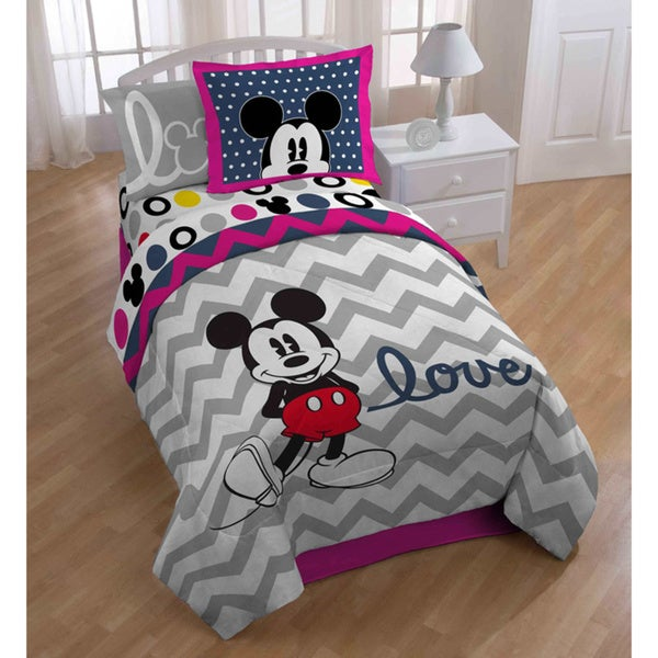 Mickey Microfiber Chevron Comforter and Sheet Set with Pillow Buddy