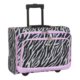 American Flyer Zebra Print Rolling Under Seat Carry-on Upright