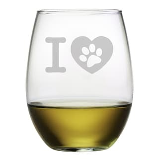 I Heart Paw Stemless Wine Glass (Set of 4)