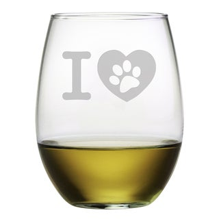 I Heart Paw 21-ounce Stemless Wine Glasses (Set of 4)