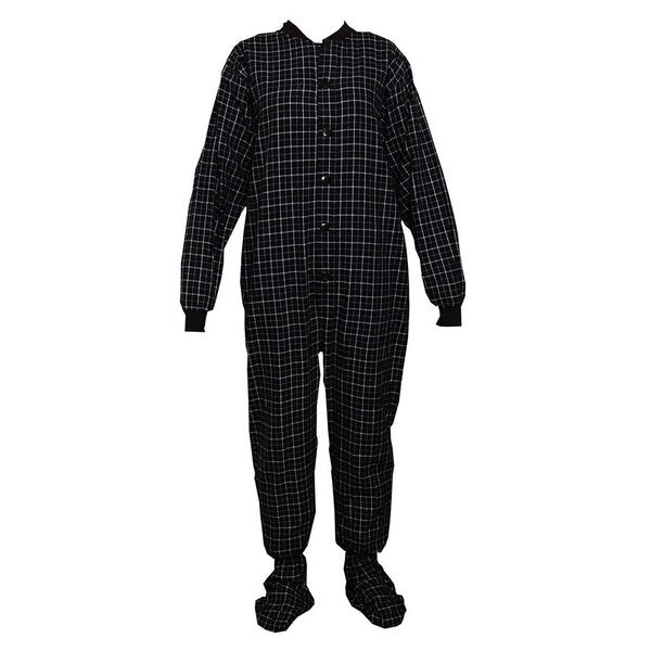 Adult Black and White Flannel Footed Pajamas with Drop Seat