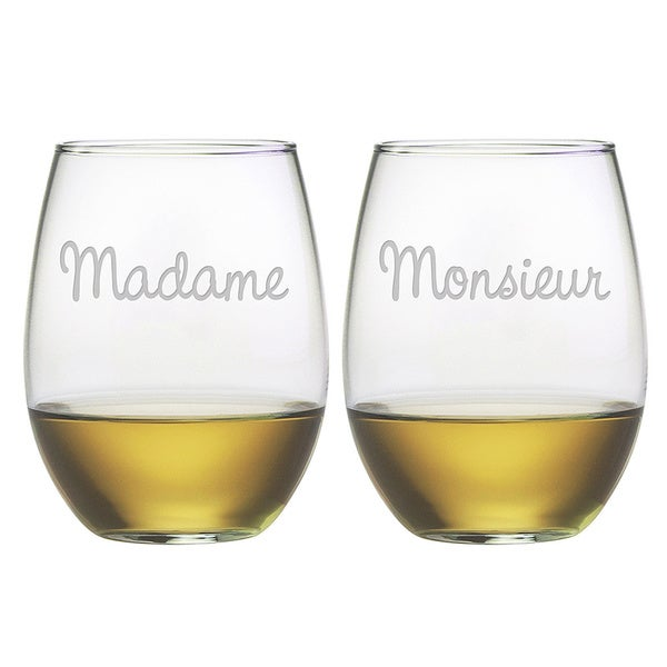 Monsieur/ Madame 21-ounce Stemless Wine Glasses (Set of 2)
