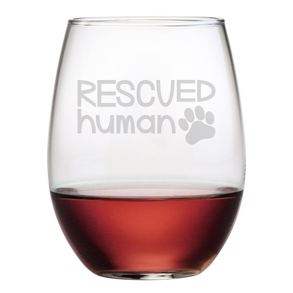 Rescued Human 21-ounce Stemless Wine Glasses (Set of 4)