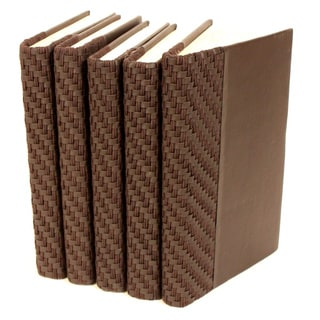 Italian Woven Collection Brown Decorative Books (Set of 5)