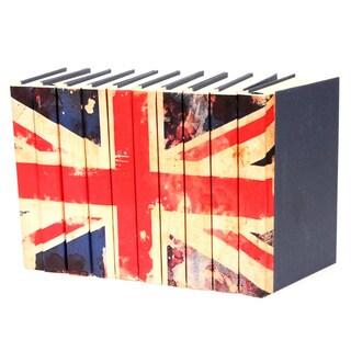 Union Jack Flag Decorative Books (Set of 10)
