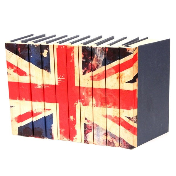 Union Jack Flag Decorative Books (Set of 10)