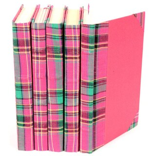 Bespoke Pink/ Green Plaid Decorative Books (Set of 5)