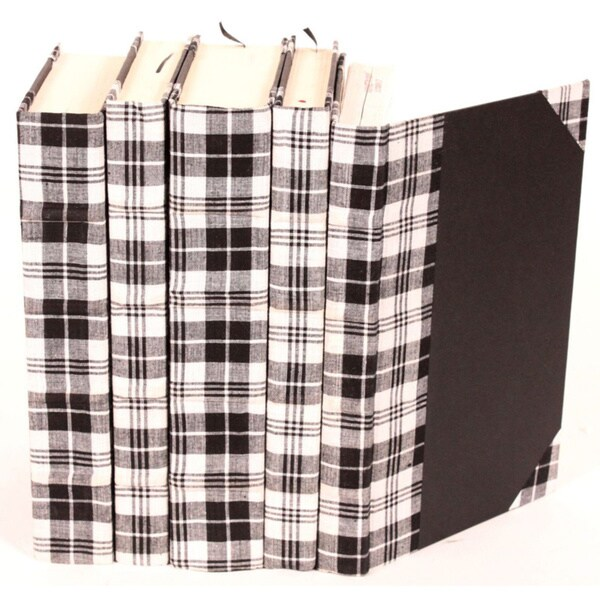 Bespoke Black Plaid Decorative Books (Set of 5)