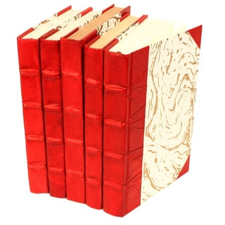 Parchment Collection Red Decorative Books (Set of 5)