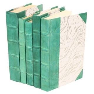 Parchment Collection Teal Decorative Books (Set of 5)