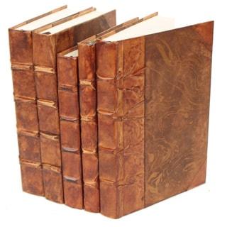 Antique Parchment Caramel Decorative Books (Set of 5)