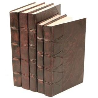 Antique Parchment Brown Decorative Books (Set of 5)