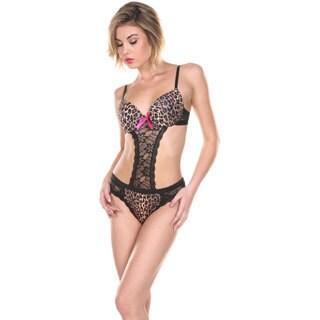 Stanzino Women's Leopard Print X-back Lingerie