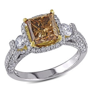 Shira Design 18k Two-tone Gold 3 1/6ct TDW Brown and White Diamond Ring (F-G, SI1-SI2)