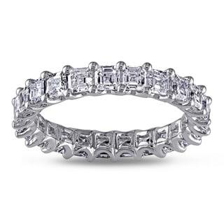 Shira Design 14k White Gold 3ct TDW Asscher Cut Diamond Eternity Ring (G-H, VS1-VS2)