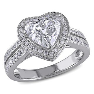 Miadora 14k White Gold 2ct TDW Diamond Heart Ring (H-I, I1-I2)