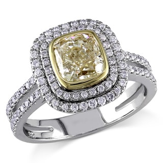 Miadora 14k Gold 2ct TDW Fancy Yellow and White Diamond Ring (G-H, SI1-SI2)