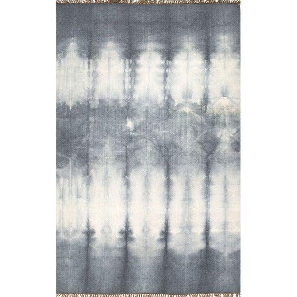 Flat Weave Oriental Pattern Grey Black Wool Area Rug 2