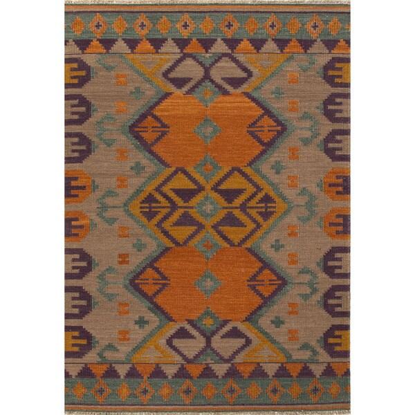 Flat Weave Tribal Pattern Orange/ Brown Wool Area Rug (2' x 3')