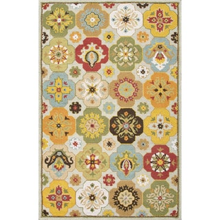 Indo Hand-tufted Blue/ Multi-colored Floral Wool Area Rug (2' x 3')