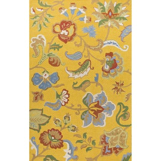 Hand Tufted Floral Pattern Gold/ Blue Wool Area Rug (5' x 8')
