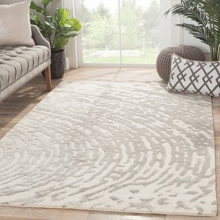 Indo Hand-tufted Oriental White/ Grey Wool and Art Silk Rug (9' x 12')