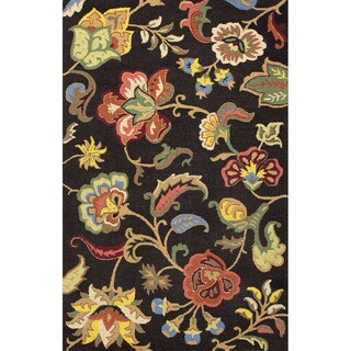 Indo Hand-tufted Floral Black/ Multi-colored Wool Area Rug (2' x 3')