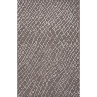 Hand Tufted Oriental Pattern Grey/ Grey Wool/Art Silk Rug (8' x 10')