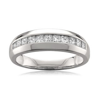 14k White Gold Men's 1ct TDW Princess-cut Diamond Wedding Band (G-H, SI1-SI2)