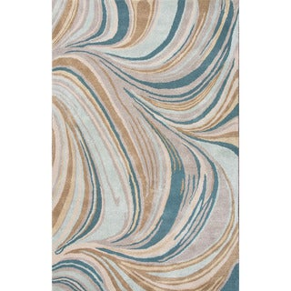 Indo Hand-tufted Blue/ Brown Stripe Wool and Art Silk Area Rug (5' x 8')
