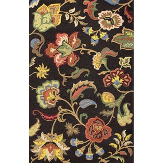 Hand Tufted Floral Pattern Black/ Multi Wool Area Rug (5' x 8')