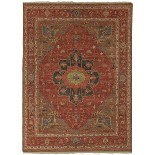 Hand Knotted Oriental Pattern Red/ Blue Wool Area Rug (6' x 9')