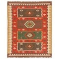 Flat Weave Tribal Pattern Red/ Gold Jute Area Rug (8' x 10')