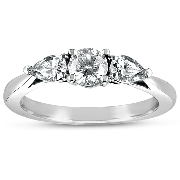 Eloquence 18k White Gold 1ct TDW Certified Diamond 3-stone Engagement Ring (D-E, SI1-SI2)