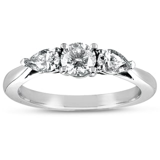 Eloquence 18k White Gold 1ct TDW Certified Diamond 3-stone Ring (D-E, SI1-SI2)