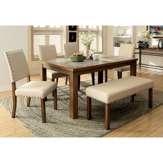 Furniture of America Veronte 6-Piece Stone Top Dining Set
