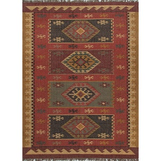 Flat Weave Tribal Pattern Red/ Gold Jute Area Rug (4' x 6')