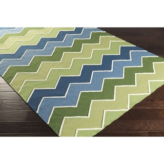 Hand-Woven Sheila Zig-Zag Style Wool Rug (8' x 11')