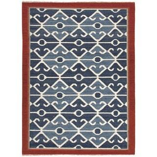 Flat Weave Tribal Pattern Blue/ Red Wool Area Rug (2' x 3')