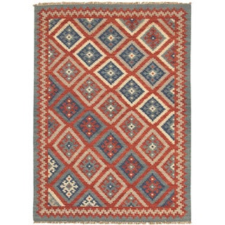 Flat Weave Tribal Pattern Red/ Blue Wool Area Rug (5' x 8')
