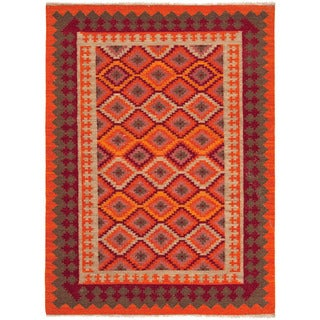 Flat Weave Tribal Pattern Orange/ Red Wool Area Rug (5' x 8')
