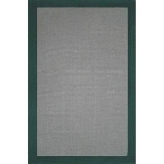 Grand Bazaar Green Solid Jute Border Rug (1'6 x 2'6)