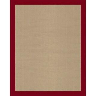 Grand Bazaar Solid Jute Border Red Rug (1'6 x 2'6)